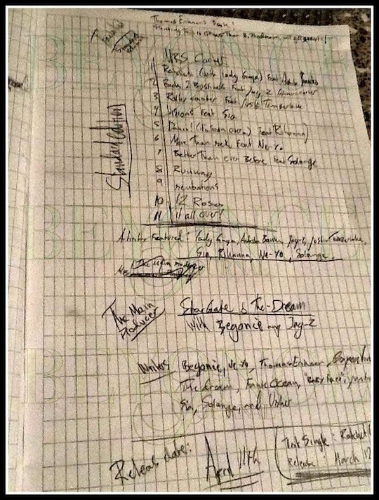 AYRR: Beyonce's Leaked Tracklisting [PHOTO]